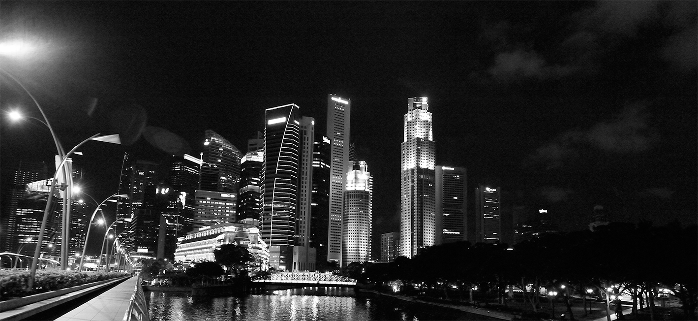 Singapore-Cityscape-B&W
